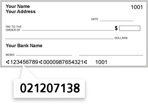 021207138 routing number on TD Bank NA check