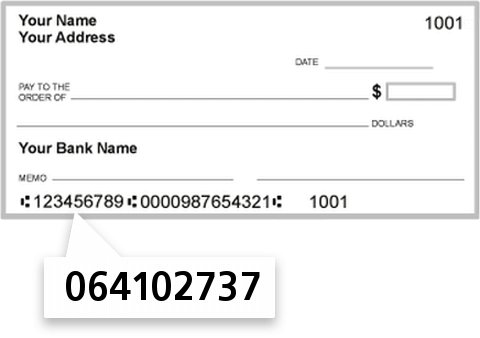 064102737 routing number on American City Bank check