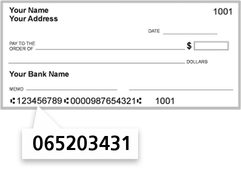 065203431 routing number on Midsouth Bank NA check