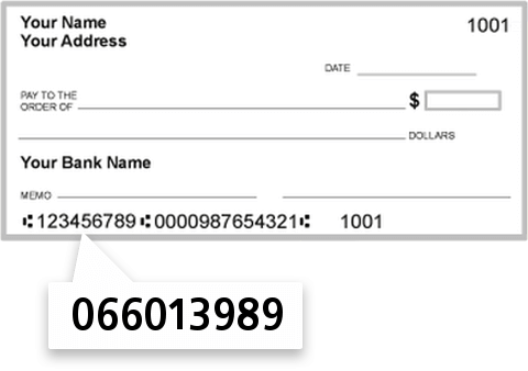 066013989 routing number on Valley National Bank check