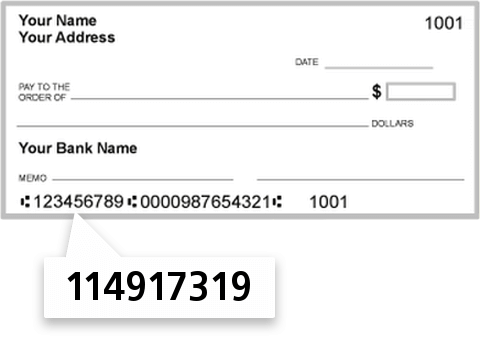114917319 routing number on Security Bank check