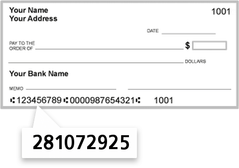 281072925 routing number on First State Community Bank check